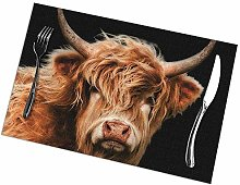 Table Placemats Set of 6 Highland Cow in Colour