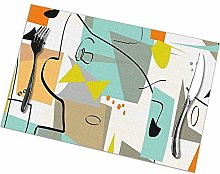 Table Placemats Set of 6 Mid-Century Modern