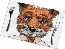 Table Placemats Set of 6 Mr. Fox Rectangular Table