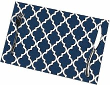 Table Placemats Set of 6 Navy Blue Moroccan