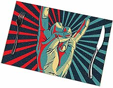 Table Placemats Set of 6 Rock N Roll Rectangular