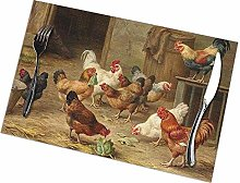 Table Placemats Set of 6 Rooster Chicken Hen Farm