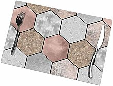 Table Placemats Set of 6 Rose Gold Marble Texture