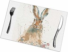 Table Placemats Set of 6 Startled Hare Rectangular