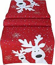 Table Runner 40 x 85 cm Red White Silver Funny Elk