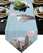 Table Runner Animal Elephant with Pink Bubble on