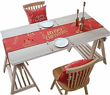 Table Runner Christmas Elk Linen Red Table Cloth
