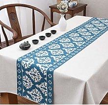 Table Runner,Modern Elegant Square Pattern Blue