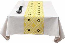 Table Runner,Modern Elegant Square Pattern Yellow