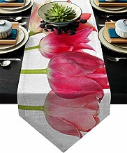 Table Runner Tulips Red Flower Wedding Party Table