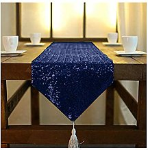 Table Runner with Tassel Navy Blue Sequin Table