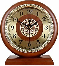 Table Wooden Desk Clocks Retro Mute Quartz Clock