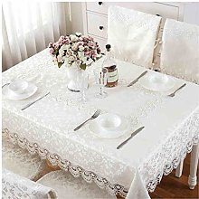 Tablecloth European Lace Embroidered Fabric White