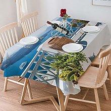 Tablecloth Rectangle Cotton Linen,Doodle,Vintage