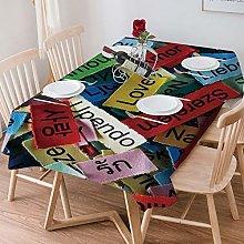 Tablecloth Rectangle Cotton Linen,Love