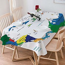 Tablecloth Rectangle Cotton Linen,Map,Central