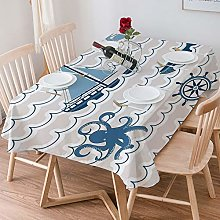 Tablecloth Rectangle Cotton Linen,Nautical,Wave