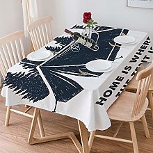 Tablecloth Rectangle Cotton Linen,Quote,Home is