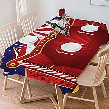 Tablecloth Rectangle Cotton Linen,Red Circus