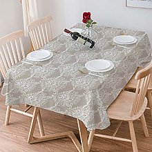 Tablecloth Rectangle Cotton Linen,Taupe,Ancient