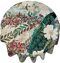 Tablecloth Round 36 Inch Table Cover Peacock