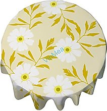 Tablecloth Round 50 Inch Table Cover Daisy Flowers