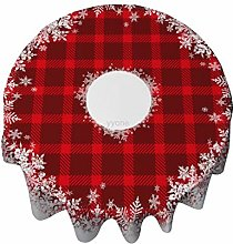 Tablecloth Round 50 Inch Table Cover Tartan Plaid