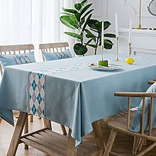 Tablecloth, Wipeable Cotton Linen Wrinkle Free