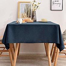 Tablecloths Rectangle Faux Linen Table Cloth Navy,