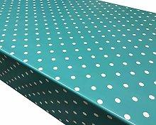 TableclothsWorld Aqua Polka Dot Spots PVC Vinyl