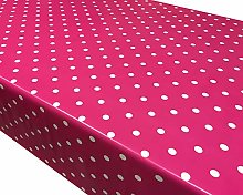 TableclothsWorld Cerise Pink Polka Dot Spots PVC