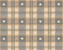 TableclothsWorld Grey Heart Check PVC Vinyl Wipe