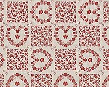 TableclothsWorld Modern Hearts Flowers PVC Vinyl