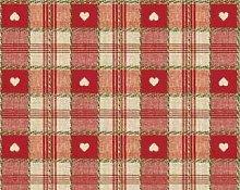 TableclothsWorld Red Heart Check PVC Vinyl Wipe