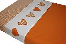Taftan Hearts Checks Top Sheet 120 x 150cm (Orange)