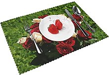 Tag Rose Flowers Backgrounds Table mat 4 piece