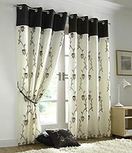 Tahiti Lined Voile Ready Made Eyelet Curtains,