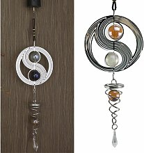Taichi Wind Chimes ,Stainless Steel Mirror Crystal Ball Metal Rotating Wind Chime for Garden,Yard,Home Decoration