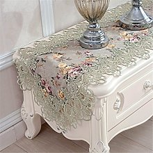 TaiXiuHome Green Hollow Lace Floral Embroidered