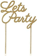 Talking Tables Acrylic Cake Topper-Lets Party, Gold