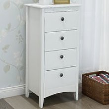 Tall Chest of 4 Drawers White Bedside Cabinet Wood