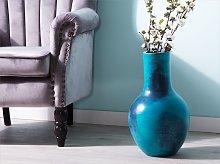 Tall Decorative Vase Blue Ceramic 43 cm Table