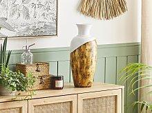 Tall Decorative Vase Light Wood and White Ceramic