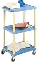 Tall Plastic 3 Shelf Trolley With Coloured Shelves