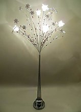 Tall Silver Orchid Tree Metal Wire Lamp with Small