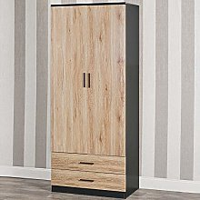 Tall Wooden 2 Door Black Wardrobe With 2 Drawers
