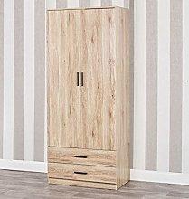 Tall Wooden 2 Door Oak Wardrobe With 2 Drawers
