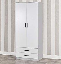 Tall Wooden 2 Door Wardrobe With 2 Drawers Bedroom