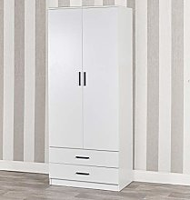 Tall Wooden White 2 Door Wardrobe With 2 Drawers
