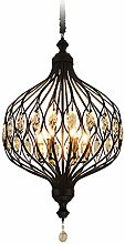 TAM88 Retro Iron Pendant Light,Crystal Decorative